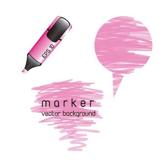 Roze markeerstift over witte achtergrond vectorillustratie