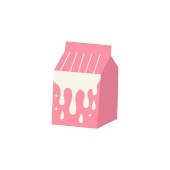 Roze melkverpakking