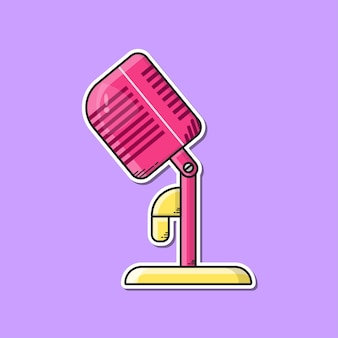 Roze microfoon om te zingen vectorillustratie