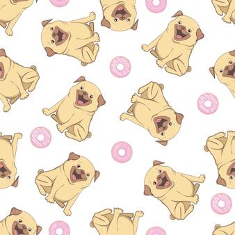 Roze naadloos patroon met grappige pug en doughnut.