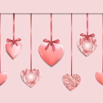 Roze naadloze rand met romantische hartslinger
