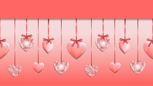 Roze naadloze webbanner met hartslinger