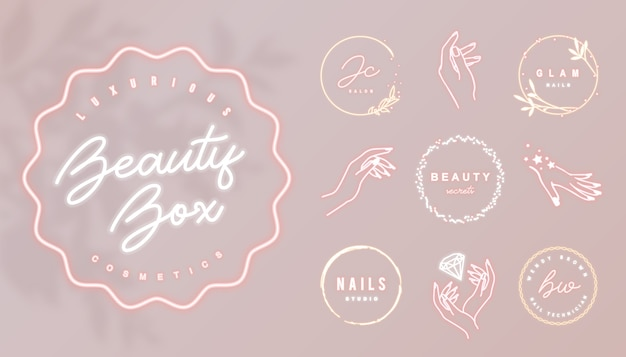 Roze neon bedrijfslogo met rond gloeiend frame en vrouwelijke handpictogrammen