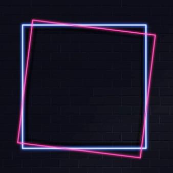 Roze neon frame op een donkere achtergrond