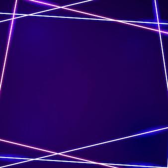 Roze neon frame op een donkere paarse achtergrond