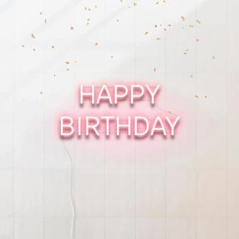 Roze neon gelukkige verjaardag typografie
