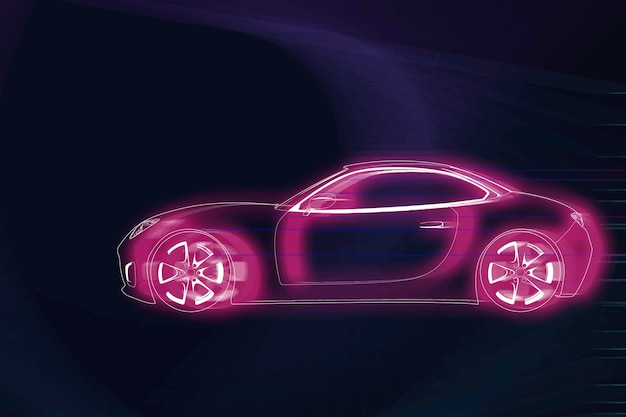 Roze neon sportwagenontwerp
