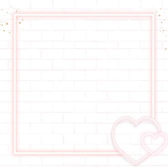 Roze neon valentijnsdag frame