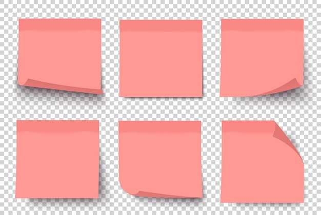 Roze notitie 3d-papier post stickers ingesteld op transparante achtergrond