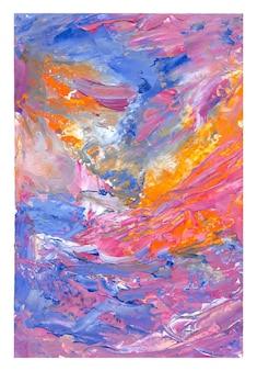 Roze oranje blauwe gouache abstracte achtergrond