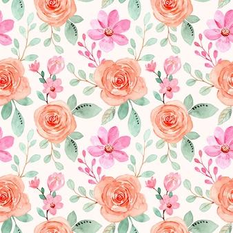 Roze oranje bloemen aquarel naadloze patroon