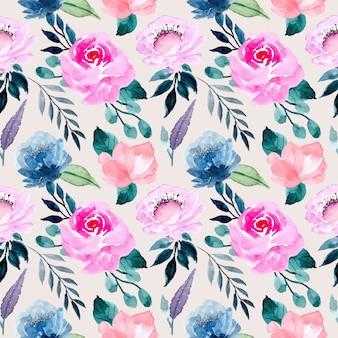 Roze paars aquarel bloemenpatroon