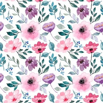 Roze paars bloemenwaterverf naadloos patroon