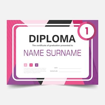 Roze paars elegant horizontaal certificaat met vector illustratie