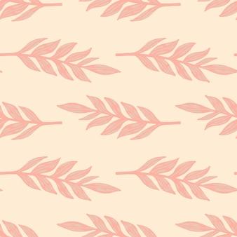 Roze palet naadloze bloemmotief met bladeren takken. gebladerte hand getekende silhouetten gestileerd