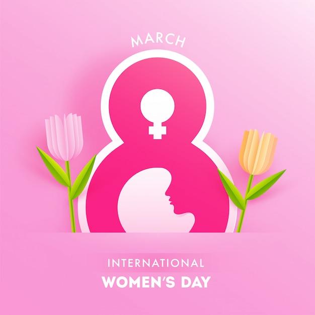 Roze papier gesneden achtergrond versierd met 8 maart tekst, vrouwelijk symbool en tulpenbloemen voor internationale vrouwenviering.