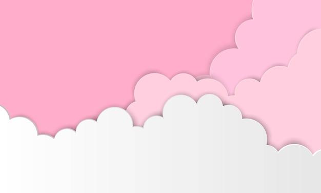 Roze papieren hemel met wolken