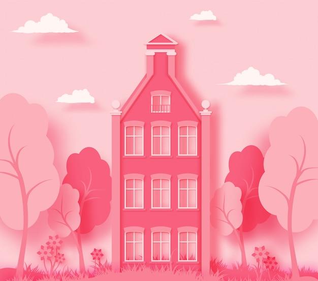 Roze papieren landschap achtergrond
