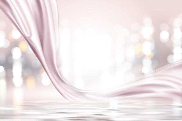 Roze parel satijn, gladde stof op glinsterende bokeh achtergrond in 3d illustratie