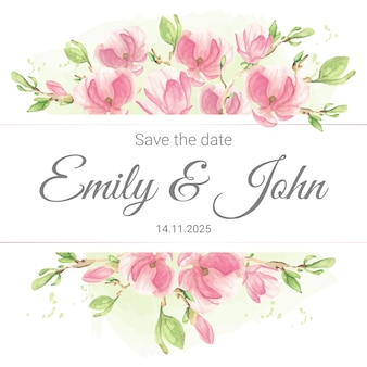 Roze pastel aquarel magnolia tak bloemstuk bruiloft uitnodiging kaartsjabloon