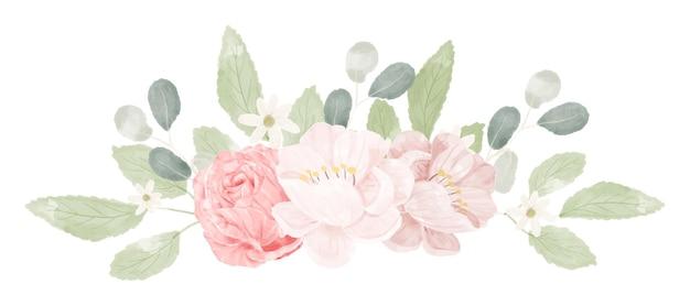 Roze pastel aquarel roos boeket bloemboeket