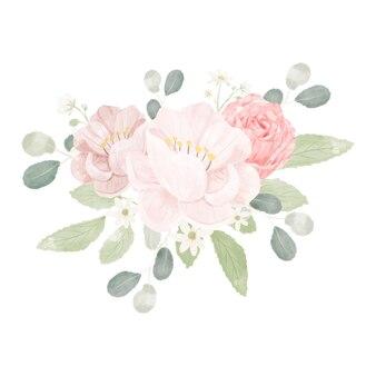 Roze pastel aquarel roos en pioenroos bloemboeket arrangement