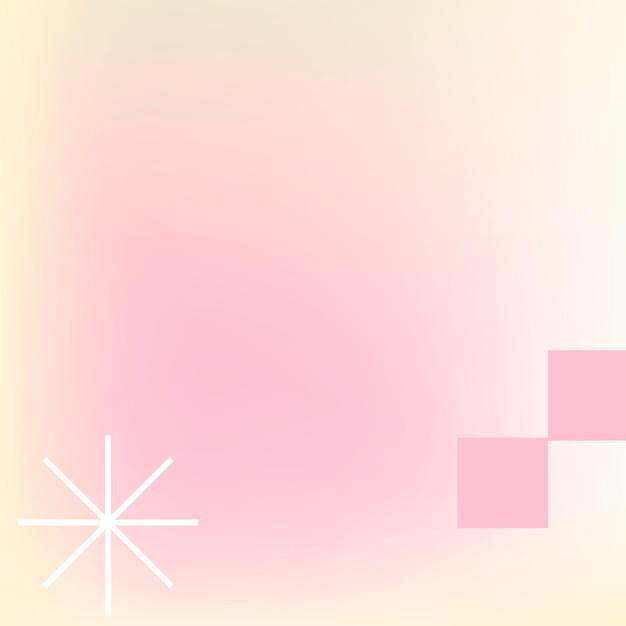 Roze pastel gradiënt achtergrond vector in abstracte memphis stijl met retro border