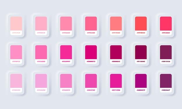 Roze pastel kleurenpalet. catalogusmonsters roze in rgb hex. kleurencatalogus. neumorphic ui ux witte gebruikersinterface webknop. neumorfisme.