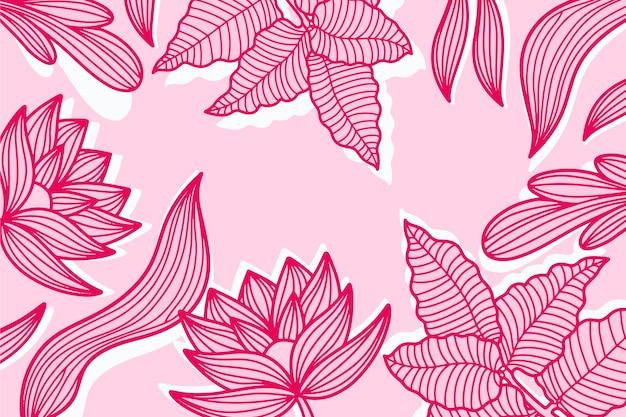 Roze pastel lineaire tropische bladeren achtergrond