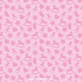 Roze patroon met baby-artikelen in plat design