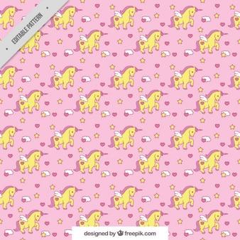 Roze patroon met eenhoorns