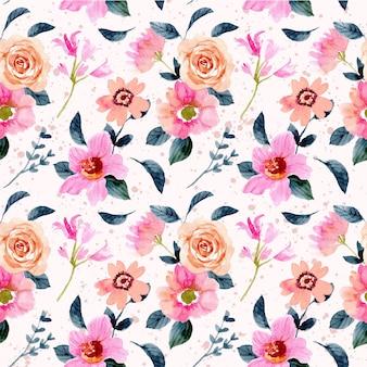 Roze perzik bloementuin aquarel naadloze patroon