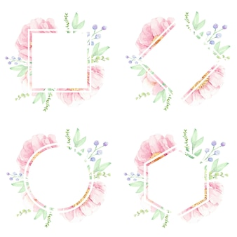 Roze pioen aquarel bloem frame