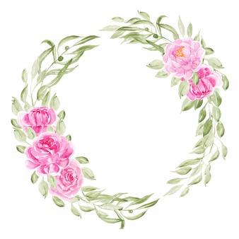 Roze pioen aquarel bloemen krans