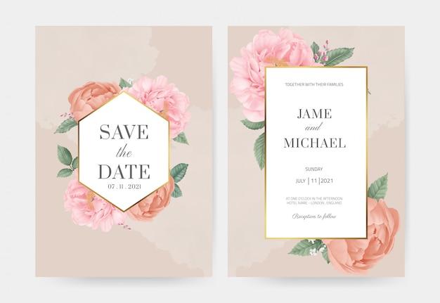 Roze pioen bruiloft uitnodiging kaart instellen. bewaar de datum met gouden frame. rozenblaadjes. wenskaart aquarel sjabloon.