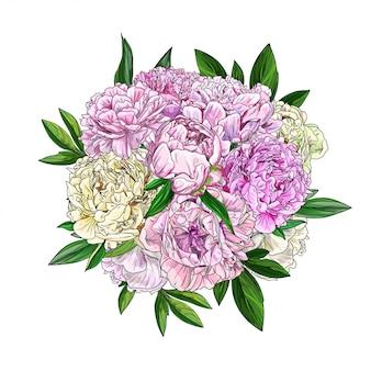 Roze pioenrozen boeket, bovenaanzicht, full colour realistische schets
