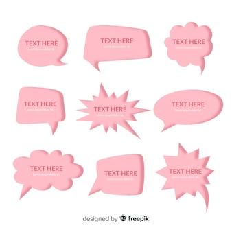 Roze platte ontwerp tekstballonnen in papierstijl