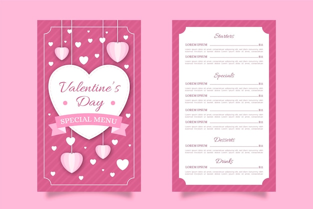Roze platte valentijnsdag menu