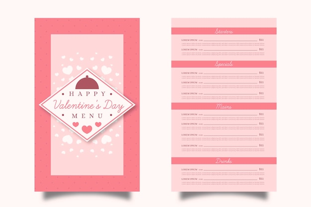 Roze platte valentijnsdag menusjabloon