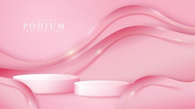 Roze podium met 3d-papiersnijstijlachtergrond en gouden kromme-elementen, realistisch luxe achtergrondconcept, lege ruimte voor het plaatsen van tekst en producten voor promotie. vectorillustratie.