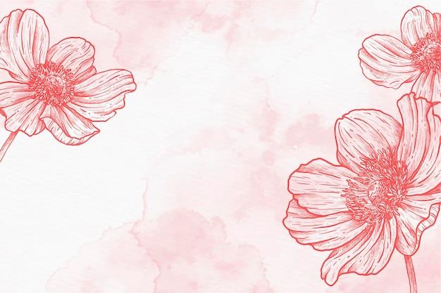 Roze poeder pastel hand getekende achtergrond