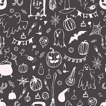 Roze pompoenen. kwade pompoen voor halloween, naadloos patroon. fijne halloween. vector illustratie.