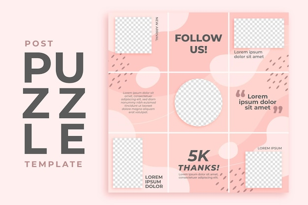 Roze post instagram puzzel feed sjabloon