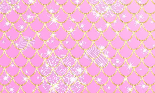Roze prinses achtergrond. magische sterren. gouden schalen. eenhoorn patroon. fantasie melkweg.