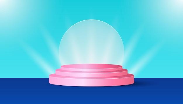 Roze productpodium met licht op blauwe achtergrond. geschikt voor webbanners, diagrammen, infographics, boekillustraties, sociale media en andere grafische elementen