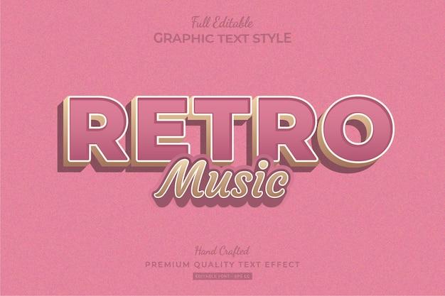 Roze retro muziek bewerkbare premium tekst effect lettertype stijl