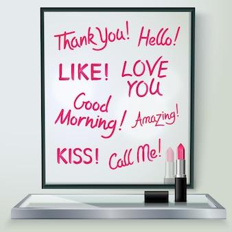 Roze rode glanzende lippenstiftwoorden van liefde en affectie in zwart kader