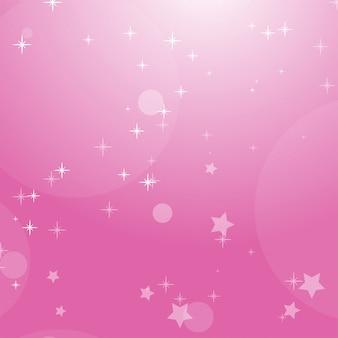 Roze romantische abstracte achtergrond met sterren en cirkels.