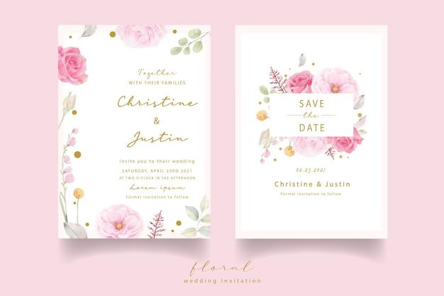Roze roos aquarel bruiloft uitnodiging