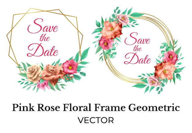 Roze roos bloemen frame decoratie met gouden geometrische